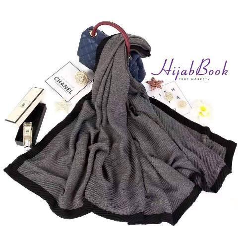 Hijab-Fluffy-One color-Stripe-Shawl